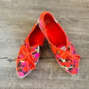 Kate Spade Keds Red Floral Canvas Sneakers Sz 7.5